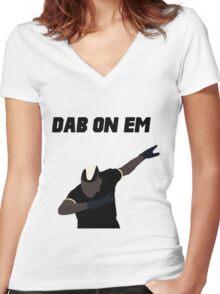 Pogba - Dab on Em Celebration minimalist Women's Fitted V-Neck T-Shirt