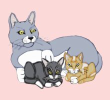 Mothers Love Cat and Kittens One Piece - Long Sleeve