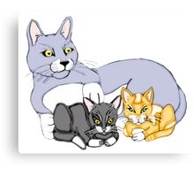 Mothers Love Cat and Kittens Canvas Print