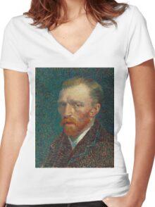 Vincent Van Gogh - Self-Portrait, 1887  Impressionism Women's Fitted V-Neck T-Shirt