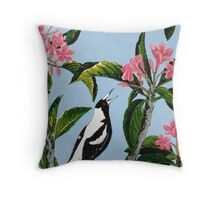Singing in the Frangipani Throw Pillow