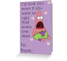 Patrick Spongebob Valentine Card Funny Greeting Card