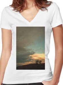Landscape - sunrise Women's Fitted V-Neck T-Shirt