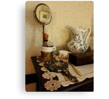 Shaving Brush Mugs And Mirror Canvas Print
