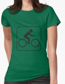 Black and White Biking Icon Silhouette Womens Fitted T-Shirt