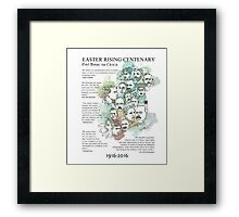 1916 commemorative print: watercolour & pen text Framed Print