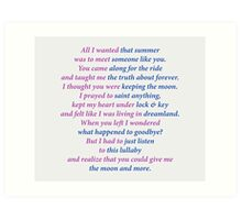 Sarah Dessen title poem Art Print