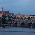 Prague Castle and Vltava River by Johannes Valkama