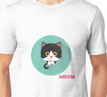 Cute cat says meow.  Unisex T-Shirt