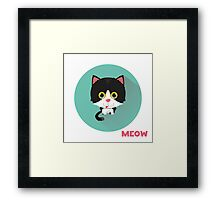 Cute cat says meow.  Framed Print