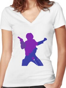 Han Solo Silhouette Women's Fitted V-Neck T-Shirt