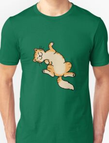 Ginger tiger cat lying on back Unisex T-Shirt