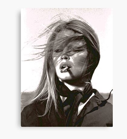 A Girl and Her Cigarette Canvas Print