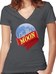 Fly Me to the Moon Women's Fitted V-Neck T-Shirt