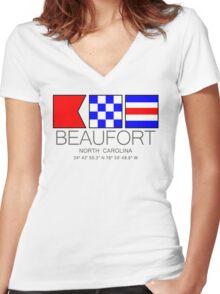 BEAUFORT North Carolina Nautical Flag Art Women's Fitted V-Neck T-Shirt