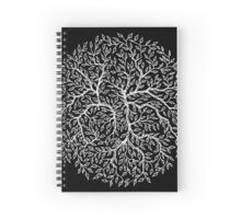 Hand-Drawn Floral Circle - White Spiral Notebook