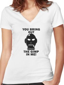 Bring out the Gimp! Women's Fitted V-Neck T-Shirt