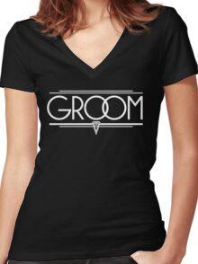 GROOM Stylish Type Hand Lettering - Wedding Art Deco Elegant White on Black Women's Fitted V-Neck T-Shirt