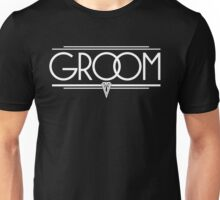 GROOM Stylish Type Hand Lettering - Wedding Art Deco Elegant White on Black Unisex T-Shirt
