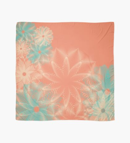 Abstract Teal and Coral Floral Scarf