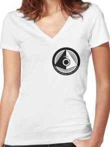 Halo - ONI Insignia (Black) Women's Fitted V-Neck T-Shirt