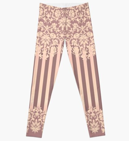 Damask Rose Lace and Stripes  Leggings