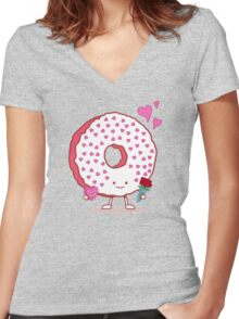 The Donut Valentine Women's Fitted V-Neck T-Shirt