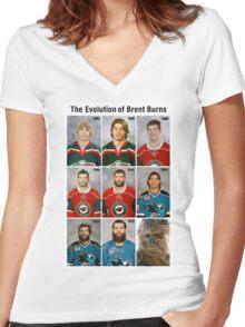 The Evolution of Brent Burns Women's Fitted V-Neck T-Shirt