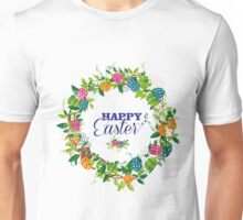 Colorful Easter Eggs & Spring Flowers Circle Wreath Unisex T-Shirt
