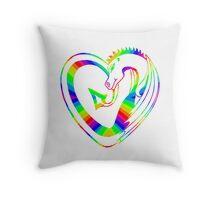 Rainbow dragon heart Throw Pillow
