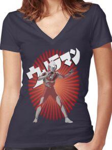 UltraMan Japanese Fun Time Women's Fitted V-Neck T-Shirt
