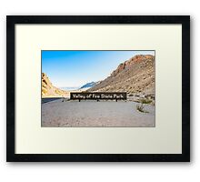 Valley of Fire State Park, Nevada. Entrance sign  Framed Print
