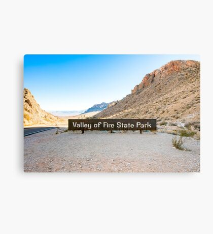 Valley of Fire State Park, Nevada. Entrance sign  Canvas Print