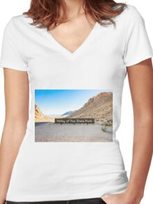 Valley of Fire State Park, Nevada. Entrance sign  Women's Fitted V-Neck T-Shirt