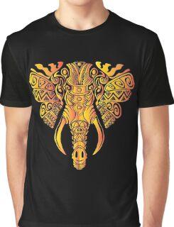 Mosaic Elephant: Golden Sunbeast Graphic T-Shirt