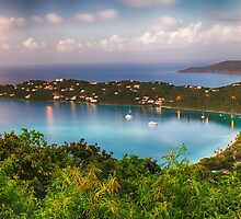 Magens Bay After Sunset Panoram, St Thomas USVI by George Oze