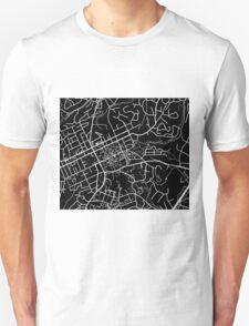 Chapel Hill Map - Black Unisex T-Shirt