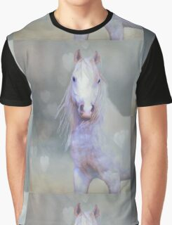 White Horse And Hearts Graphic T-Shirt