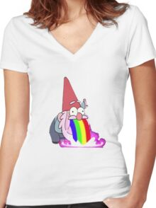 Gravity Falls- Barfing Gnome Women's Fitted V-Neck T-Shirt