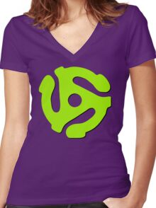45 rpm record adaptor, neon green, purple Women's Fitted V-Neck T-Shirt