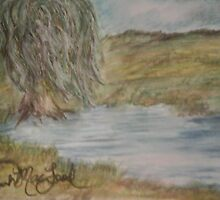 Willow On Pond by QwerkiQurios