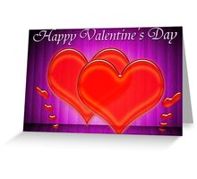 Valentine hearts on purple background Greeting Card