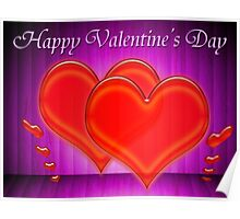 Valentine hearts on purple background Poster