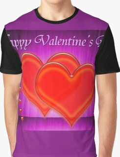 Valentine hearts on purple background Graphic T-Shirt