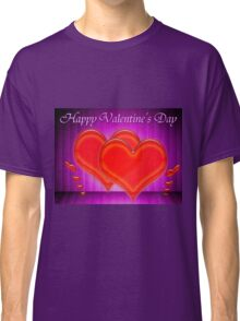 Valentine hearts on purple background Classic T-Shirt