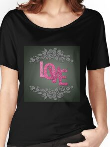 Valentine hearts on purple background Women's Relaxed Fit T-Shirt