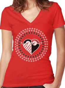 Love is Radically Blind (Black/Red Ver.) Women's Fitted V-Neck T-Shirt