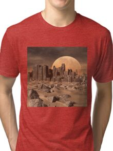 Old Alien Buildings in the Desert - Computer Artwork Tri-blend T-Shirt