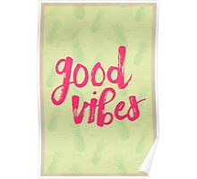 Good Vibes // Retro Vintage Green Pineapple Typography Poster and Pattern Poster