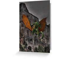 Dragon & Castle Fantasy Artwork Greeting Card
